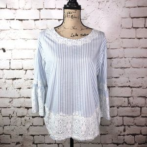 Blue and White Striped Lace Blouse